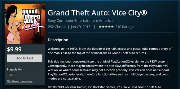 Vice City Now Available on PSN
